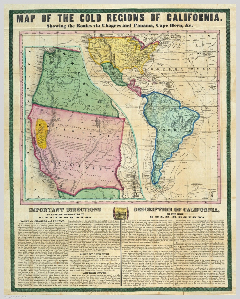 A Map Showing The Gold Mining Region Of California And Routes For - California Map Book