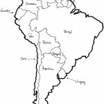 A Printable Map Of South America Labeled With The Names Each Outline   Printable Map Of Colombia