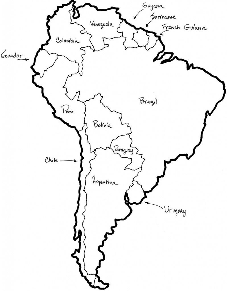 A Printable Map Of South America Labeled With The Names Each Outline - Printable Map Of Colombia