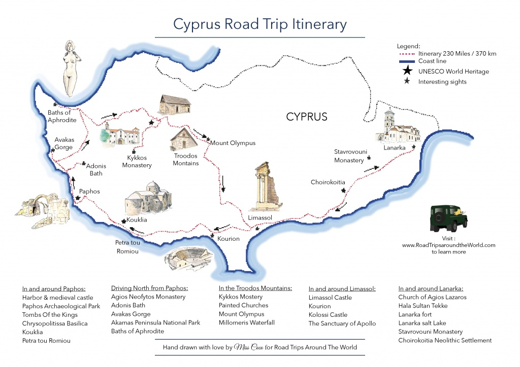A Road Trip In Cyprus - Free Printable Map - Road Trips Around The World - Printable Road Trip Maps