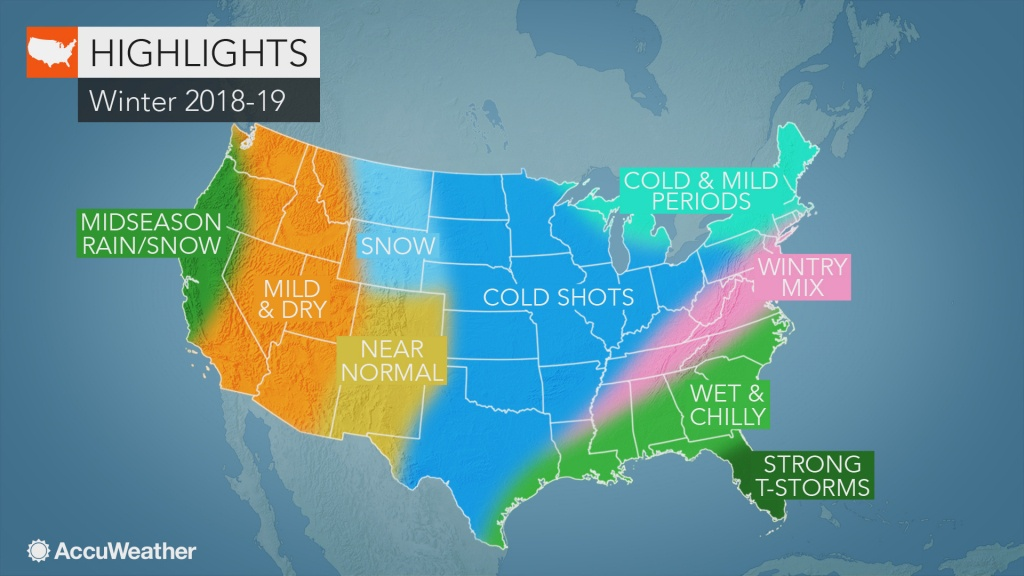 Accuweather's Us Winter Forecast For 2018-2019 Season - Southern California Weather Map