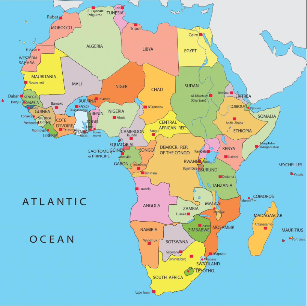 Africa Map Countries And Capitals - Google Search | When The - Printable Map Of Africa With Capitals