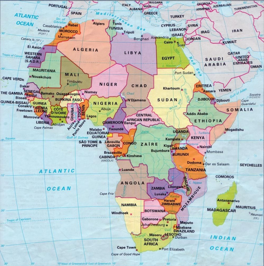 Africa Map Countries And Capitals | Online Maps: Africa Map With - Printable Map Of Africa With Capitals