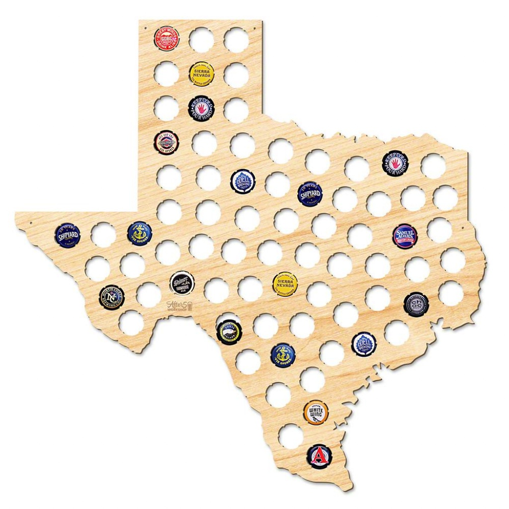 After 5 Workshop 21 In. X 20 In. Large Texas Beer Cap Map 4729 - The - Texas Beer Cap Map