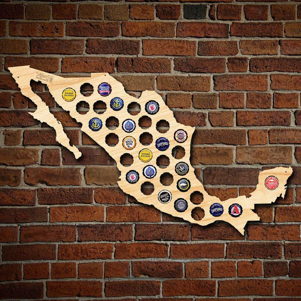 After 5 Workshop 24 In. X 15 In. Large Mexico Beer Cap Map 4860 - Florida Beer Cap Map