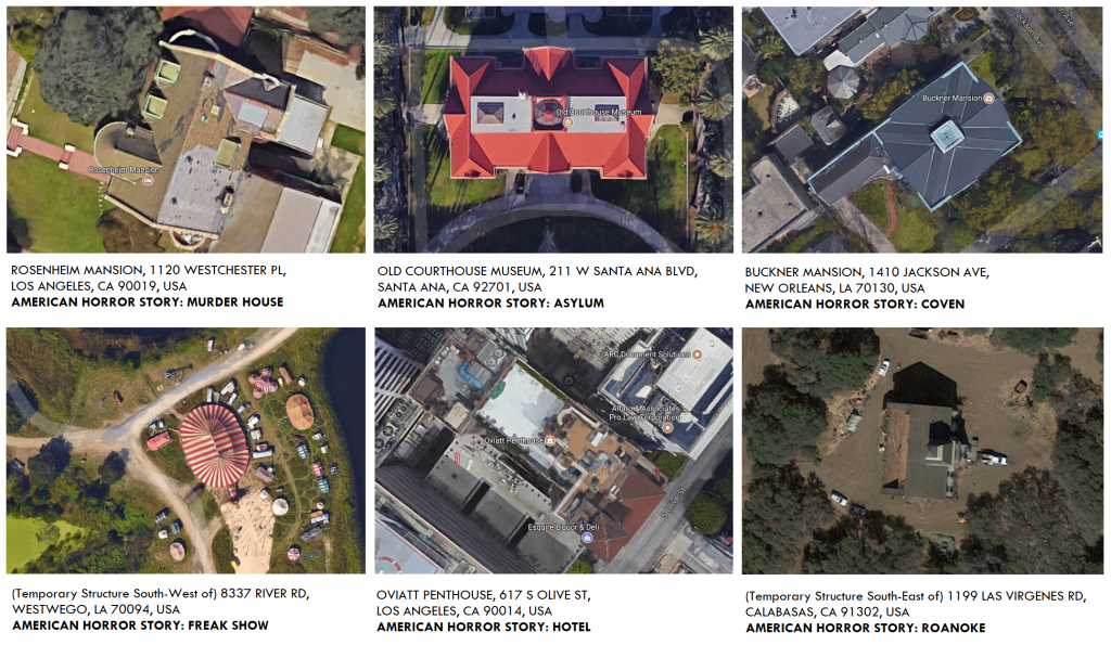 Ahs Birds-Eye View Locations For Seasons 1-6 As Found On Google Maps - Google Maps Calabasas California
