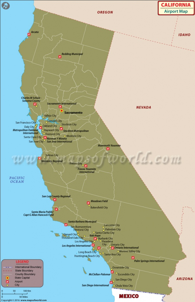 Airports In California | List Of Airports In California - Where Is Hollister California At On A Map