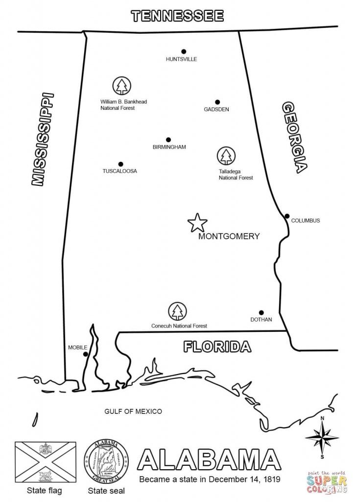 Alabama Map Coloring Page   Free Printable Coloring Pages - Alabama State Map Printable