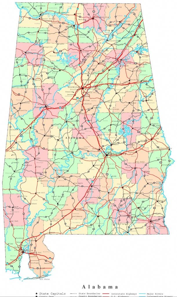 Alabama Printable Map - Alabama State Map Printable