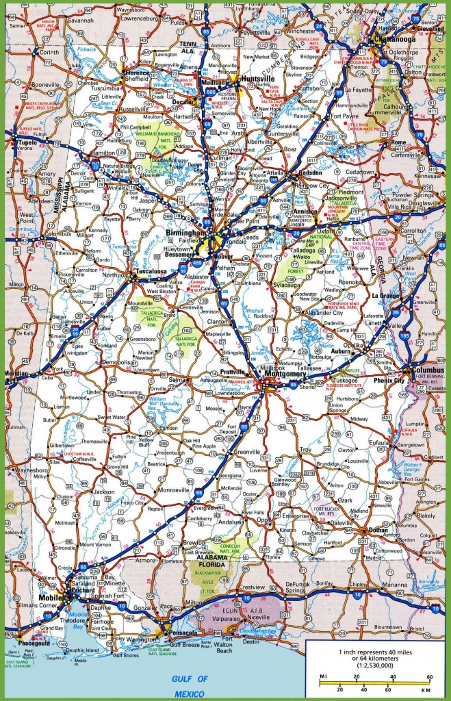 Alabama Road Map - Printable Map Of Alabama