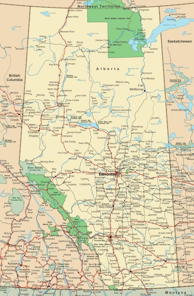 Alberta Road Map - Printable Map Of Alberta