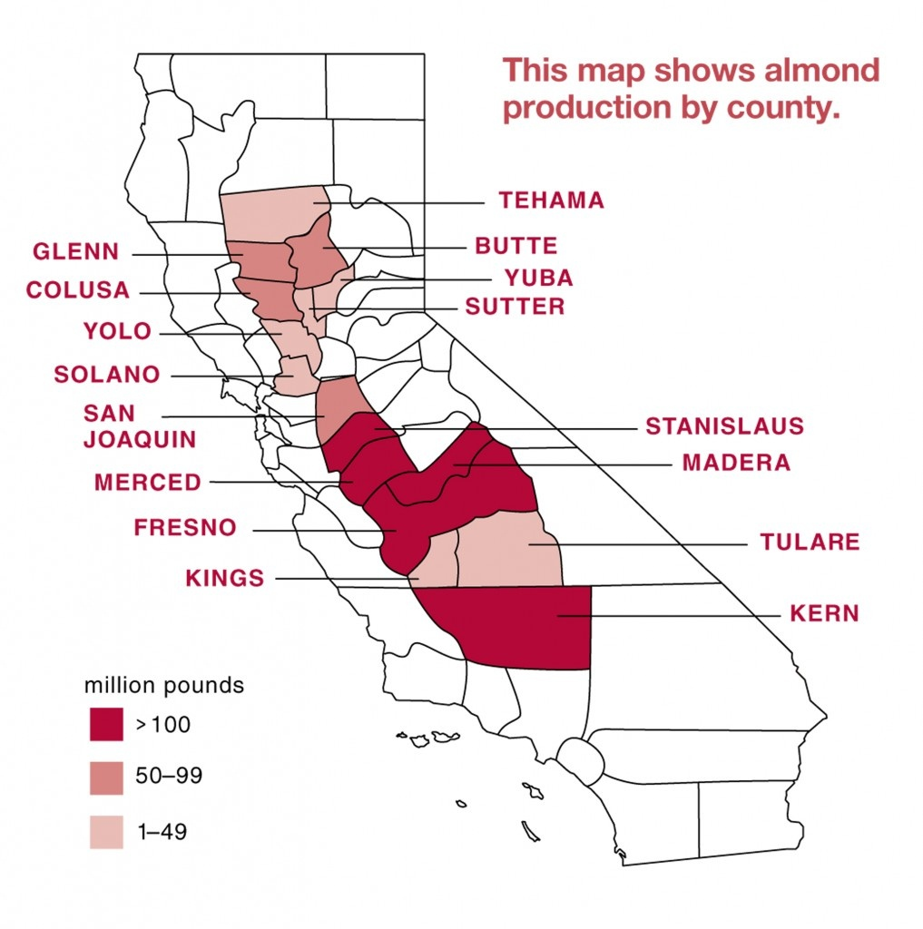 Almond Board Of California - Almond Map - - California Almond Production Map