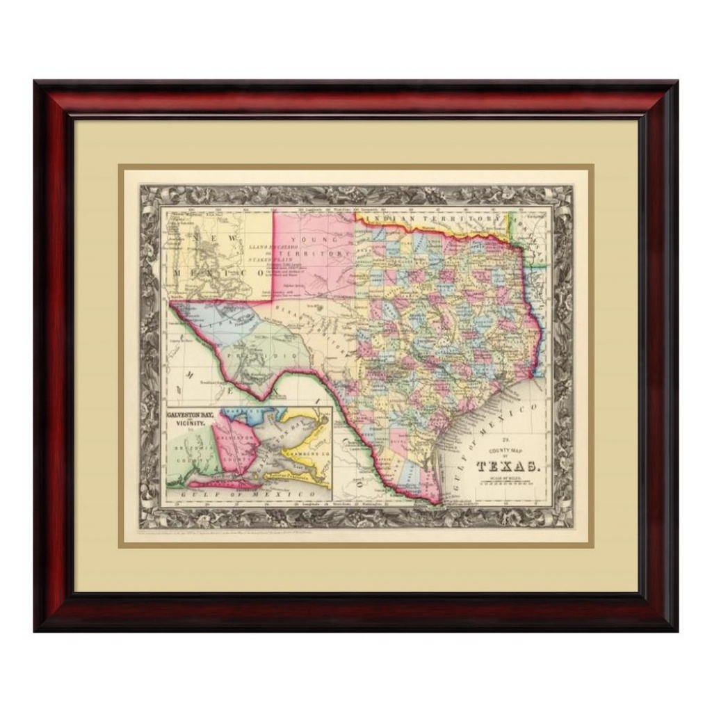 "Amanti Art 26 In. H X 30 In. W ""county Map Of Texas, 1860""samuel - Framed Texas Map"