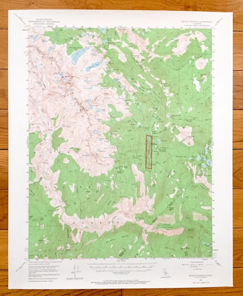 Antique Devils Postpile California 1953 Us Geological Survey   Etsy - Ono California Map