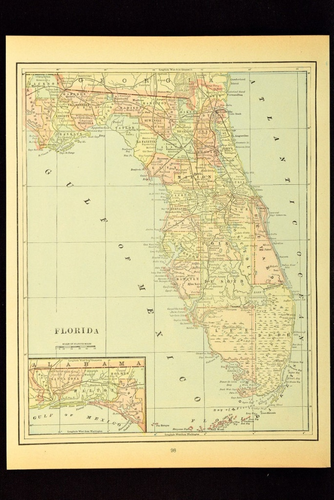 Antique Florida Map Of Florida Wall Decor Art Original Wedding | Etsy - Map Of Florida Wall Art