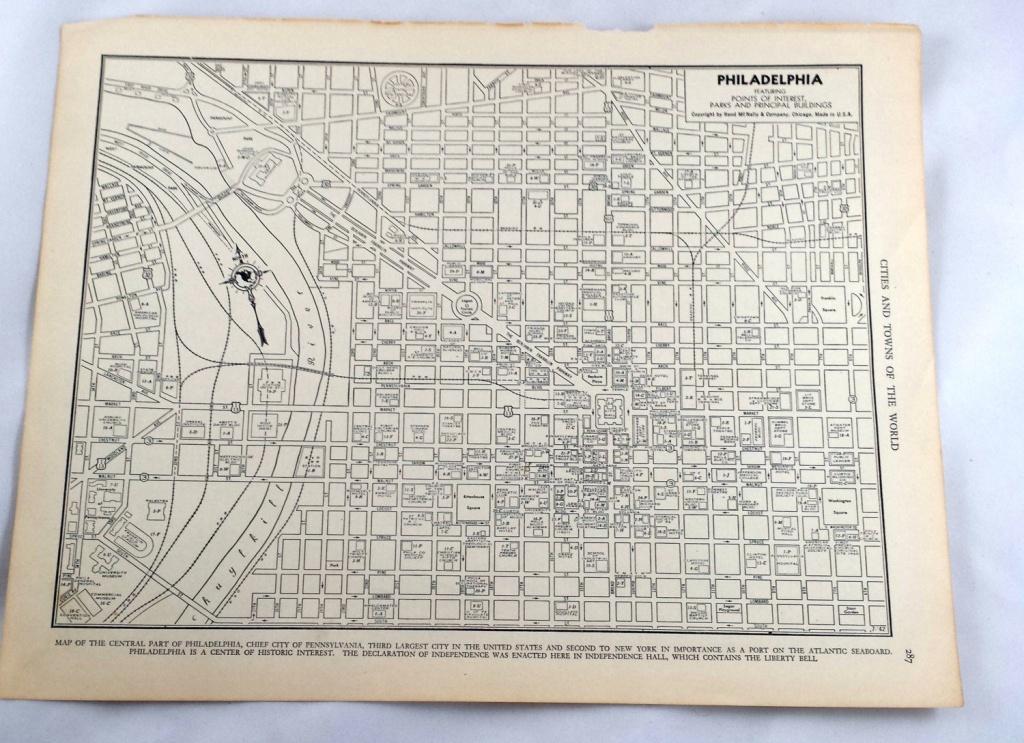 Antique Map Of Philadelphia. City Map. 1937 Historical Print   Etsy - Printable Map Of Historic Philadelphia