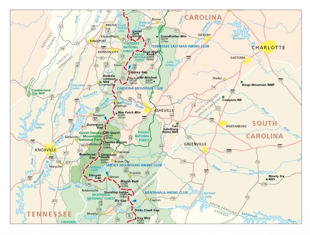 Appalachian Trail In North Carolina Map - Burnsville North Carolina - Printable Appalachian Trail Map