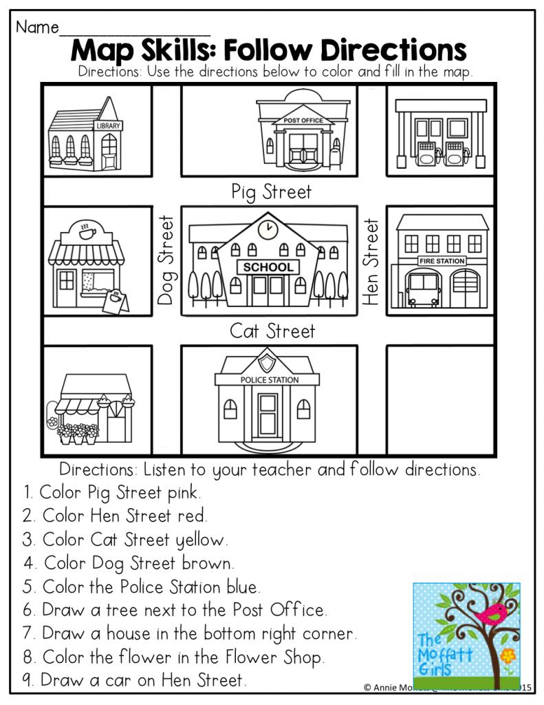 April No Prep Packet (Kindergarten) | Moffatt Girl Products - Free Printable Direction Maps