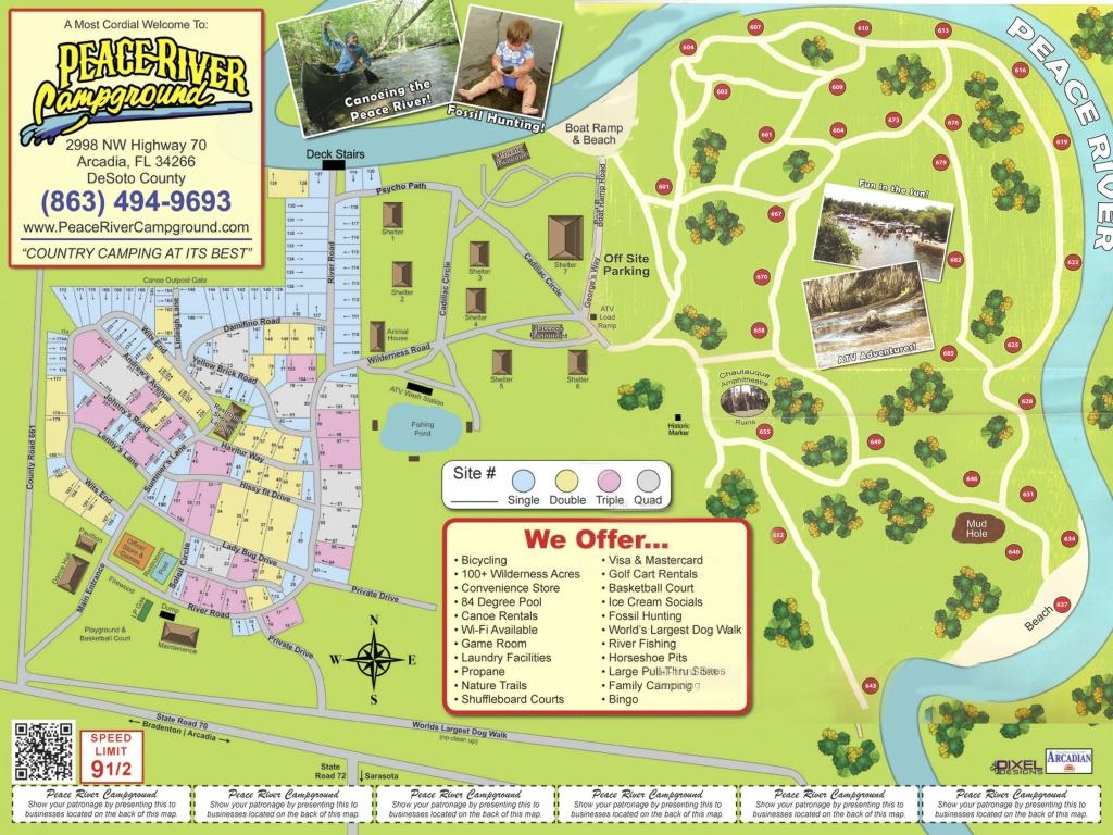 Arcadia Peace River Campground - Florida Rv Camping Map