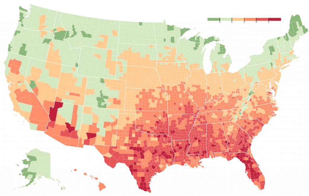 As Climate Changes, Southern States Will Suffer More Than Others - Texas Heat Map