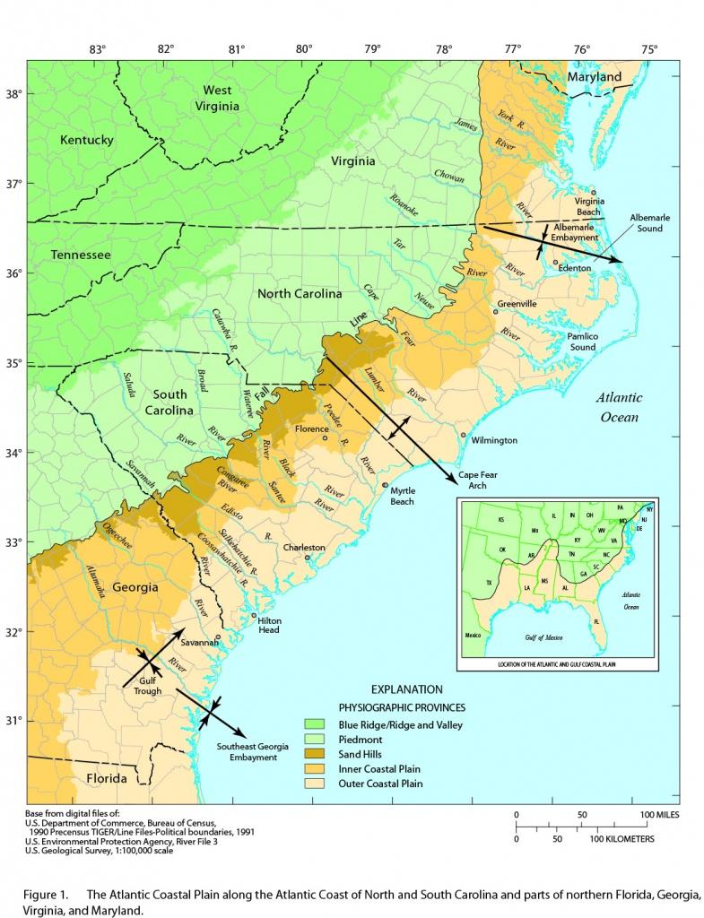 Atlantic Coastal Plain, Maryland To Florida - Florida Atlantic Coast Map