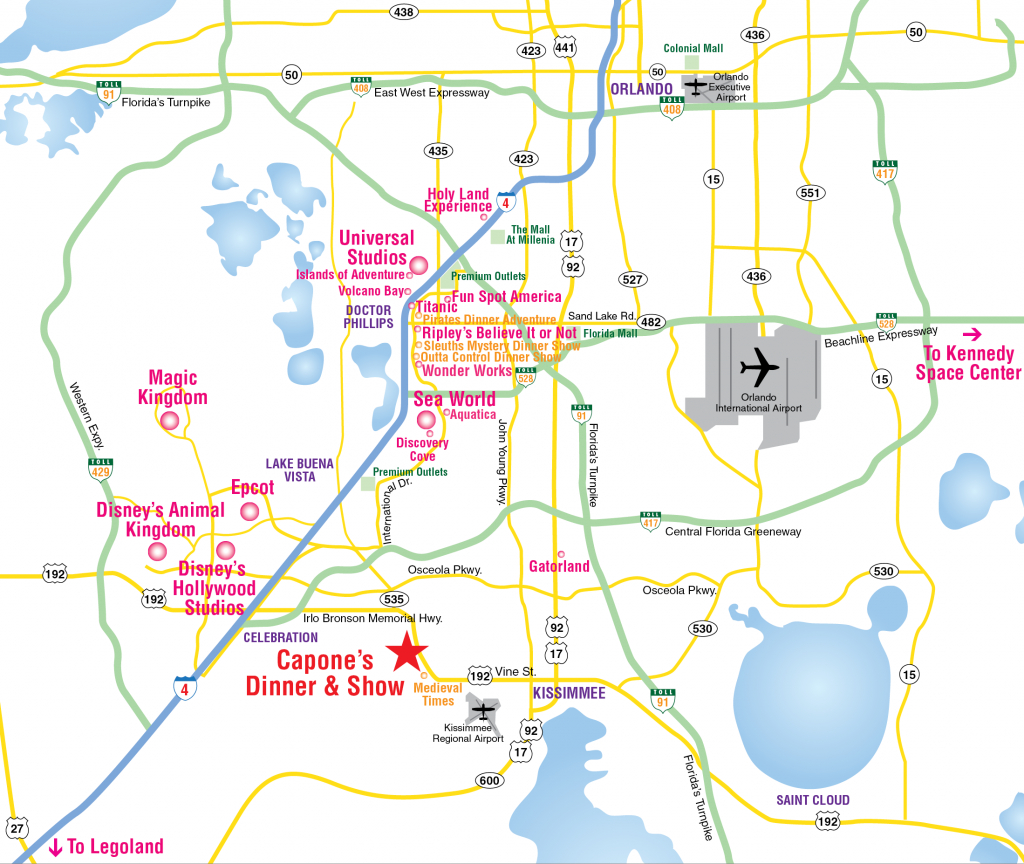 Attractions Map : Orlando Area Theme Park Map : Alcapones - Map Of Central Florida