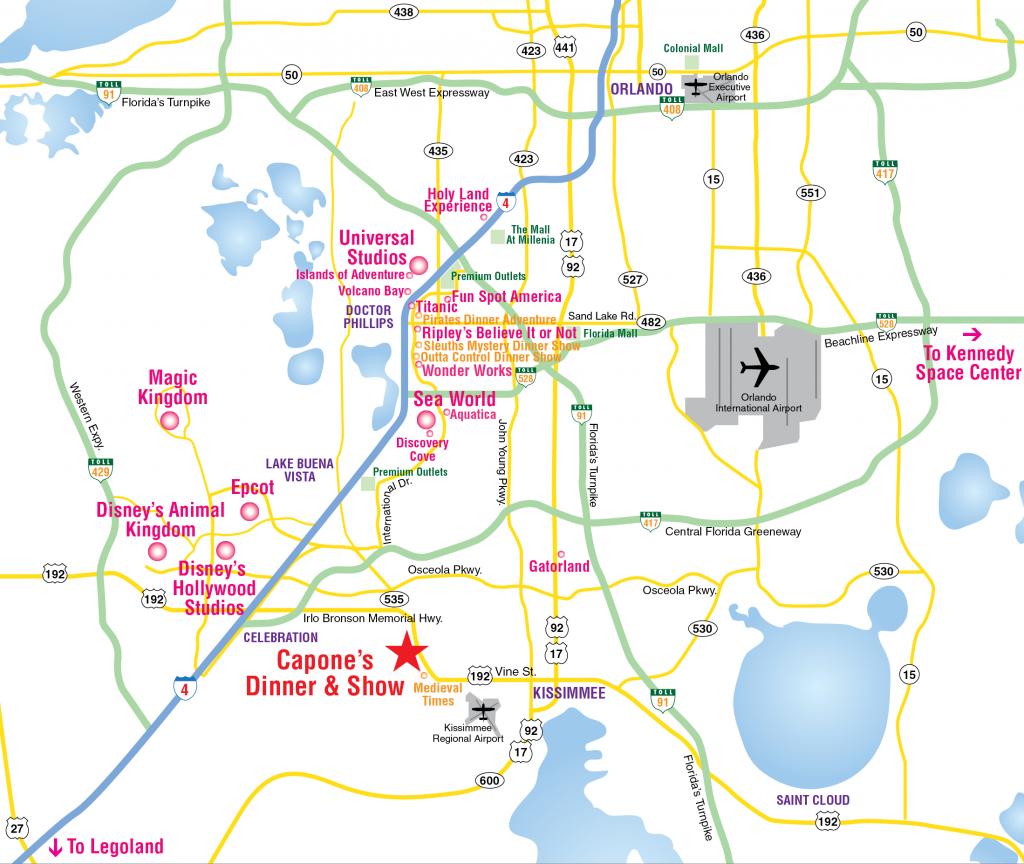 Attractions Map : Orlando Area Theme Park Map : Alcapones - Orlando Florida Theme Parks Map