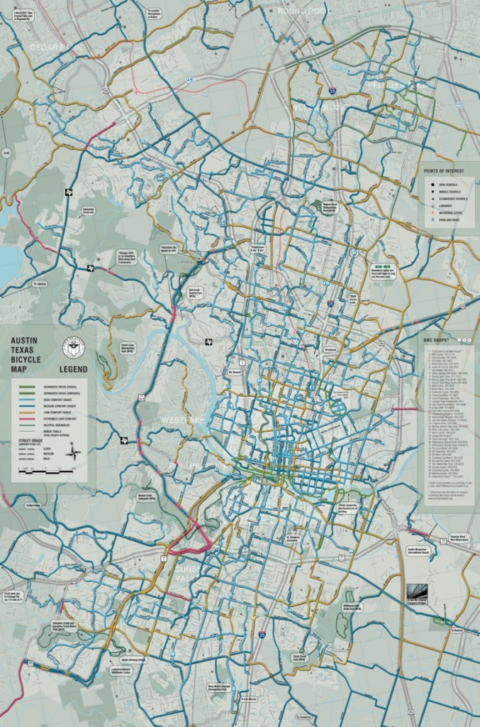 Austin, Texas Bicycle Map - Avenza Systems Inc. - Avenza Maps - Austin Texas Bike Map