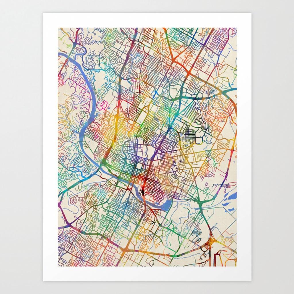 Austin Texas City Map Art Print - Austin Texas City Map