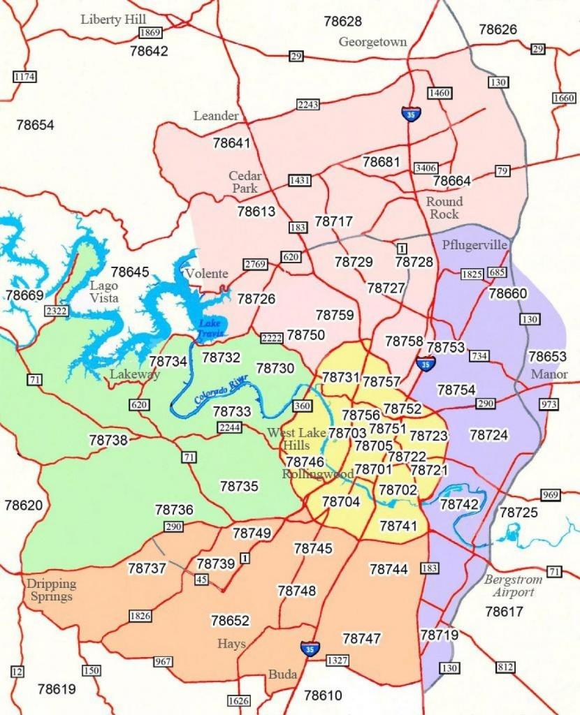 Austin Texas Zip-Code Kaart - Austin Postcode Kaart (Texas - Usa) - Texas Zip Code Map