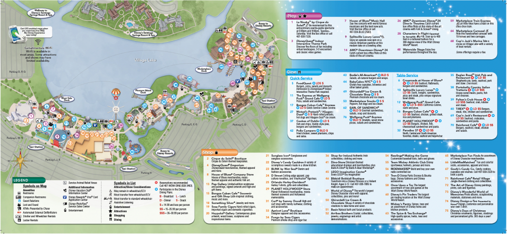 Backside Of Downtown Disney Brochure | Disney Springs | Disney World - Map Of Downtown Disney Orlando Florida