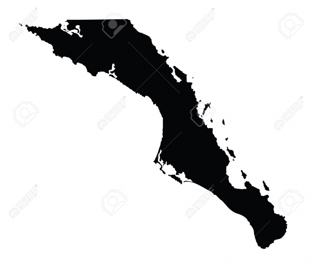 Baja California Sur, Mexico, Vector Map Isolated On White Background - Detailed Baja California Map
