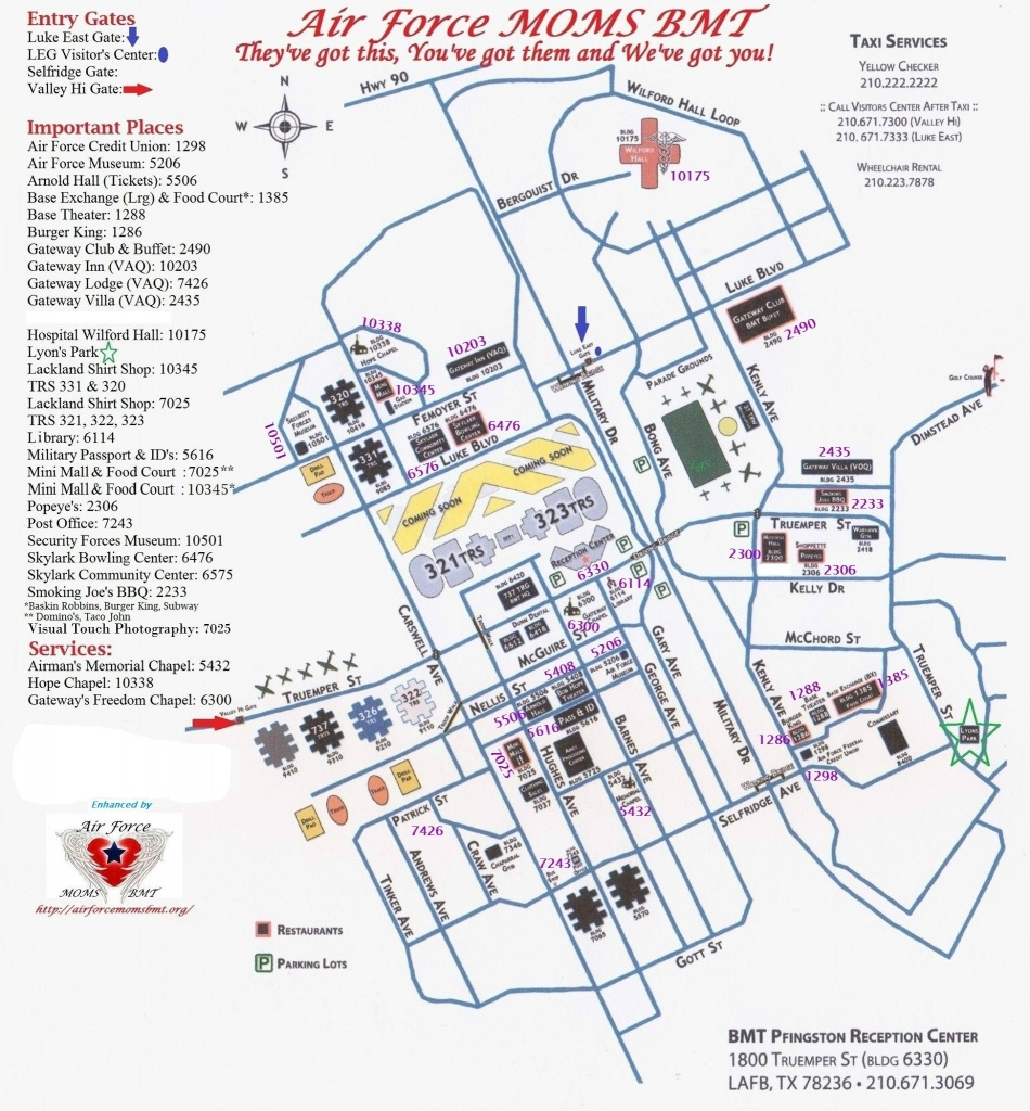 Bame Map With Building Numbers | San Antonio | Lackland Air Force - Lackland Texas Map