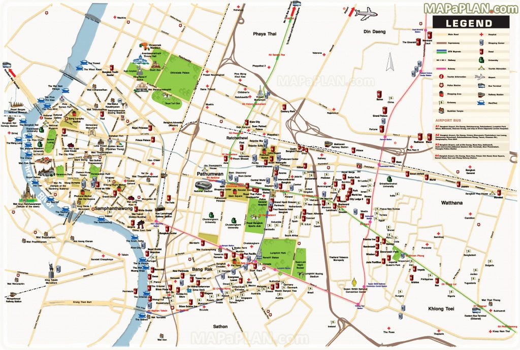 Bangkok Maps - Top Tourist Attractions - Free, Printable City Street Map - Bangkok Tourist Map Printable