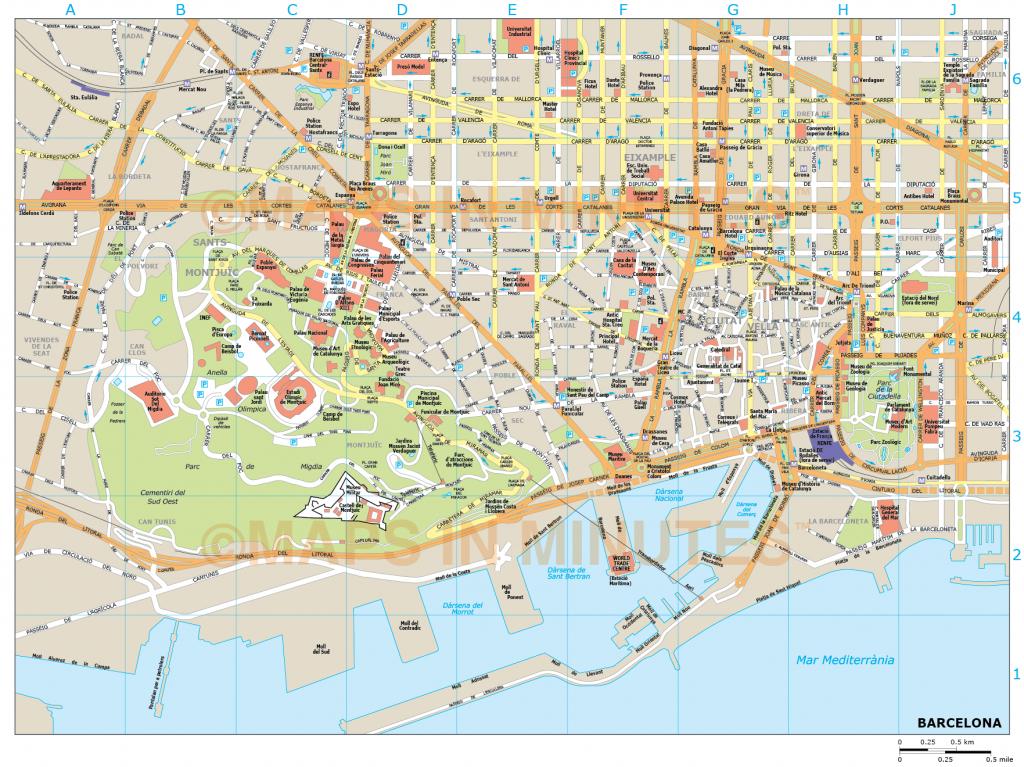 Barcelona City Map - Printable Map Of Barcelona