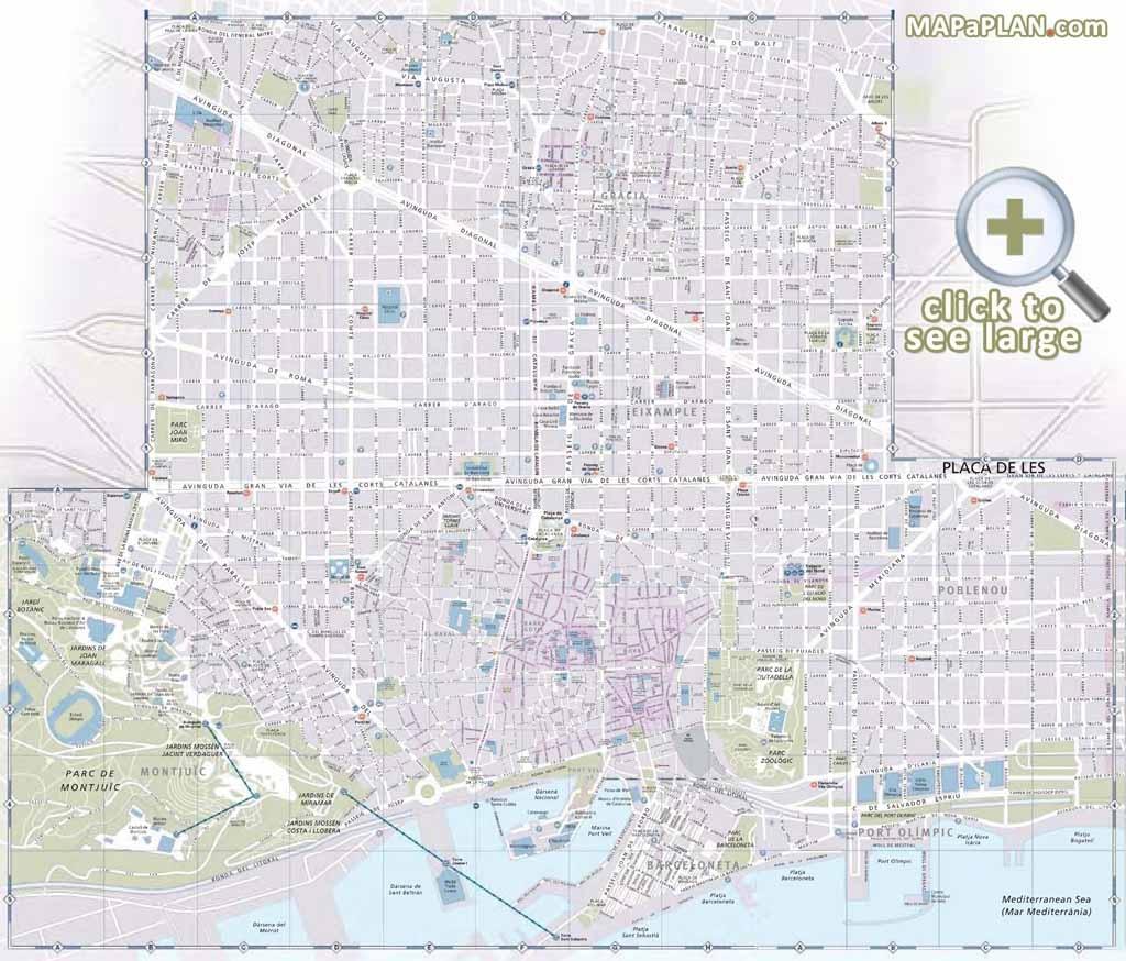 Barcelona Maps - Top Tourist Attractions - Free, Printable City - Printable City Street Maps