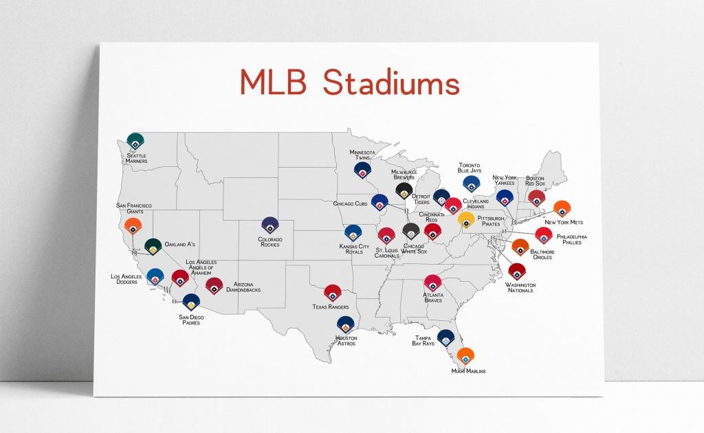 Baseball Map Baseball Stadiums Map Mlb Stadium Print | Etsy - Printable Map Of Mlb Stadiums