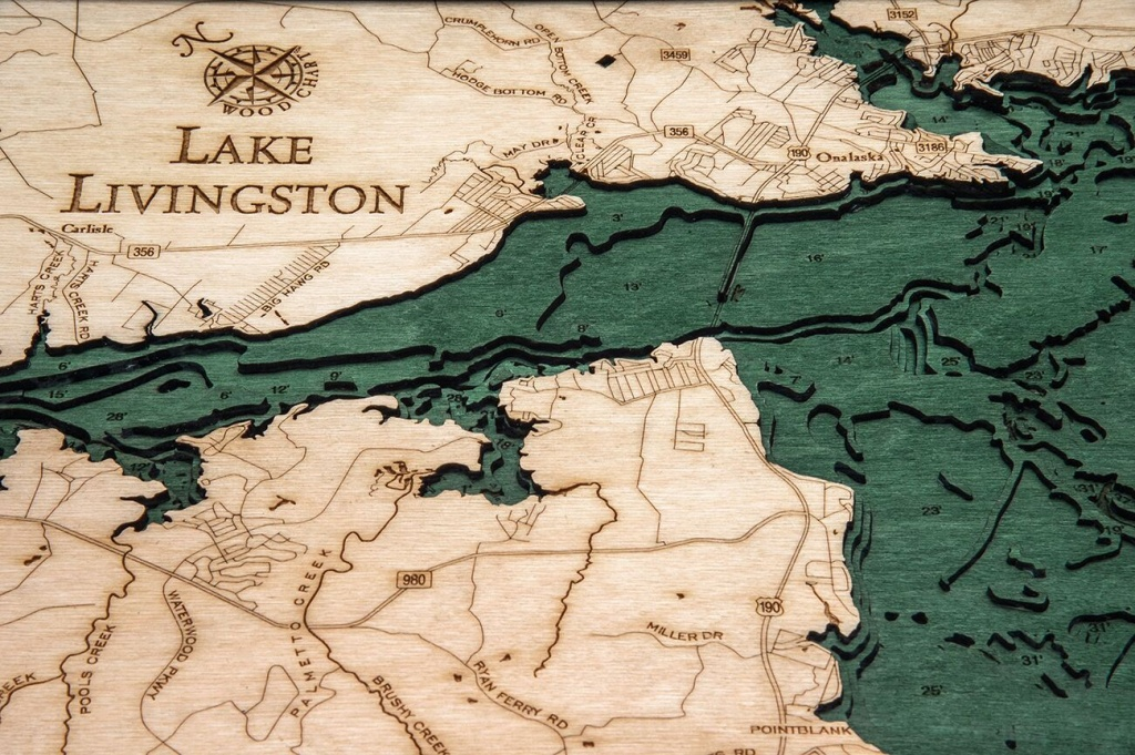 Bathymetric Map Lake Livingston, Texas - Scrimshaw Gallery - Map Of Lake Livingston Texas