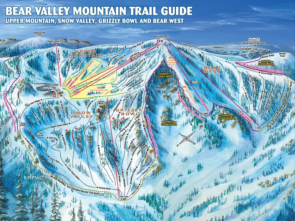 Bear Valley Trail Map | Onthesnow - Southern California Ski Resorts Map