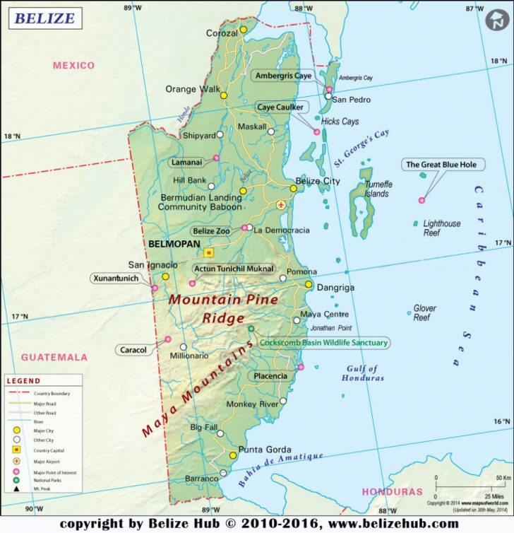 Printable Map Of Belize