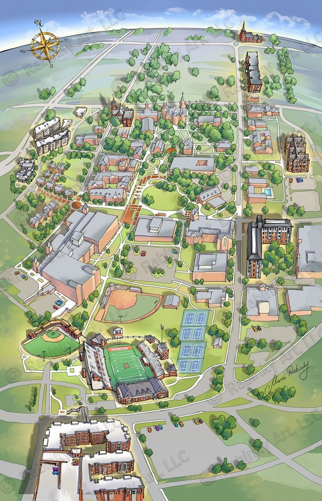 Bellarmine University Illustrated Campus Map, Map Illustration - South Texas College Mid Valley Campus Map