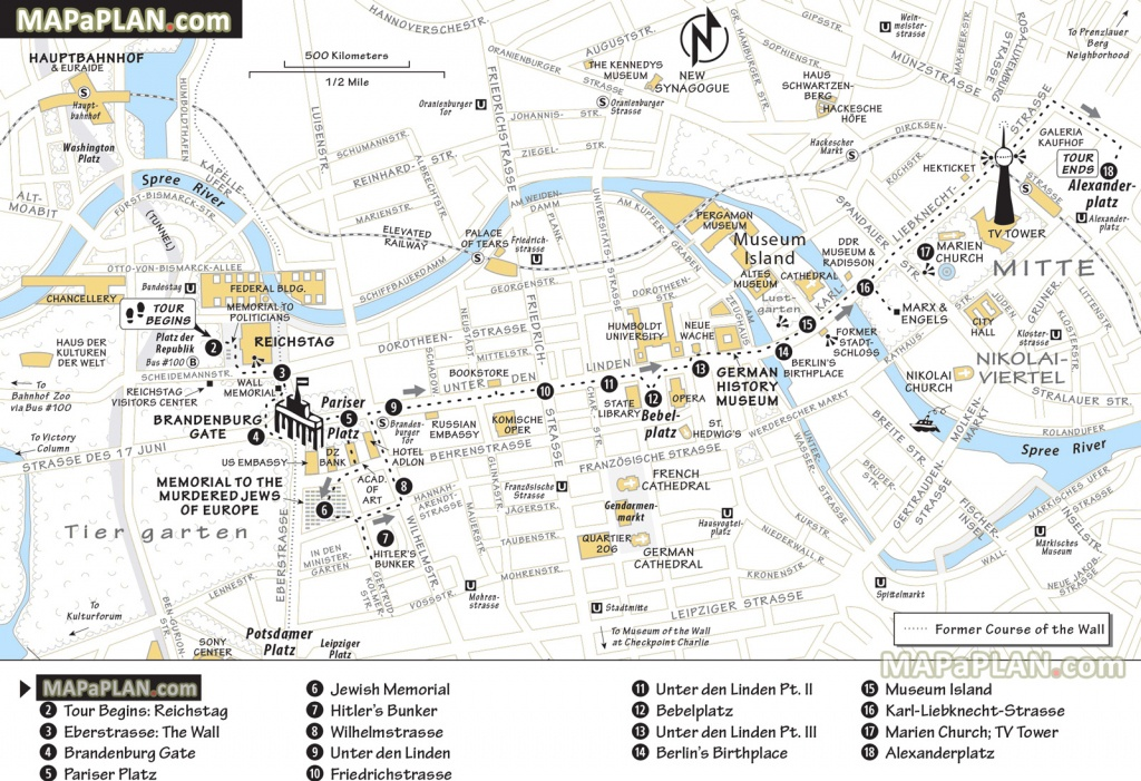Berlin Map - Explore Best Destinations In One Day - Walking Trip - Printable Map Route Planner