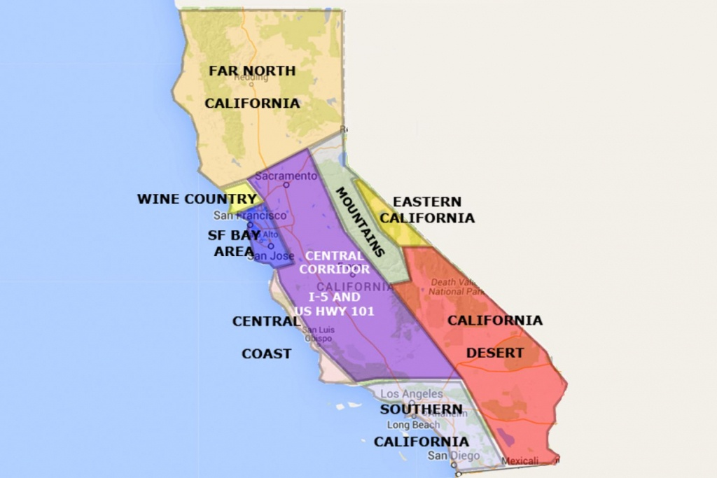 Best California Statearea And Regions Map - Map Of California Coast North Of San Francisco