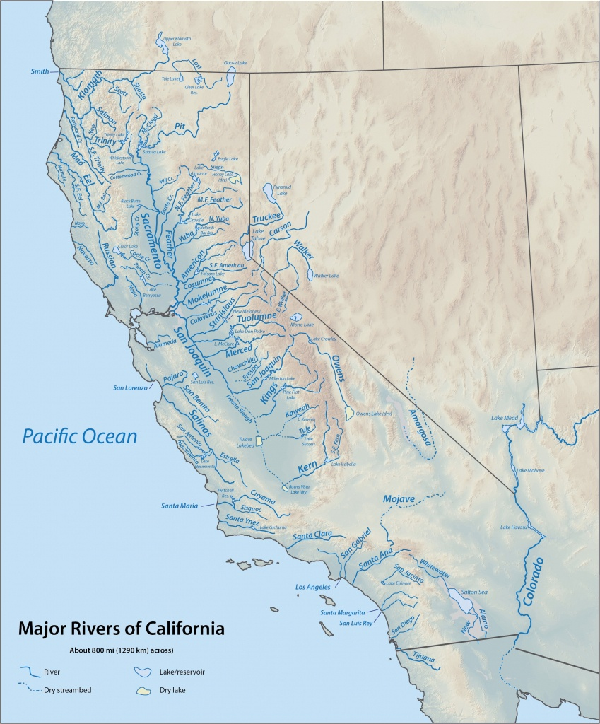 Bestand:california Rivers - Wikipedia - California Rivers Map