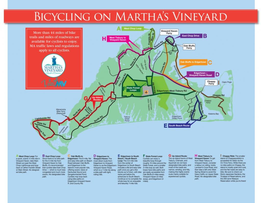 Bicycling Martha's Vineyard - Martha's Vineyard Chamber Of Commerce - Martha's Vineyard Map Printable