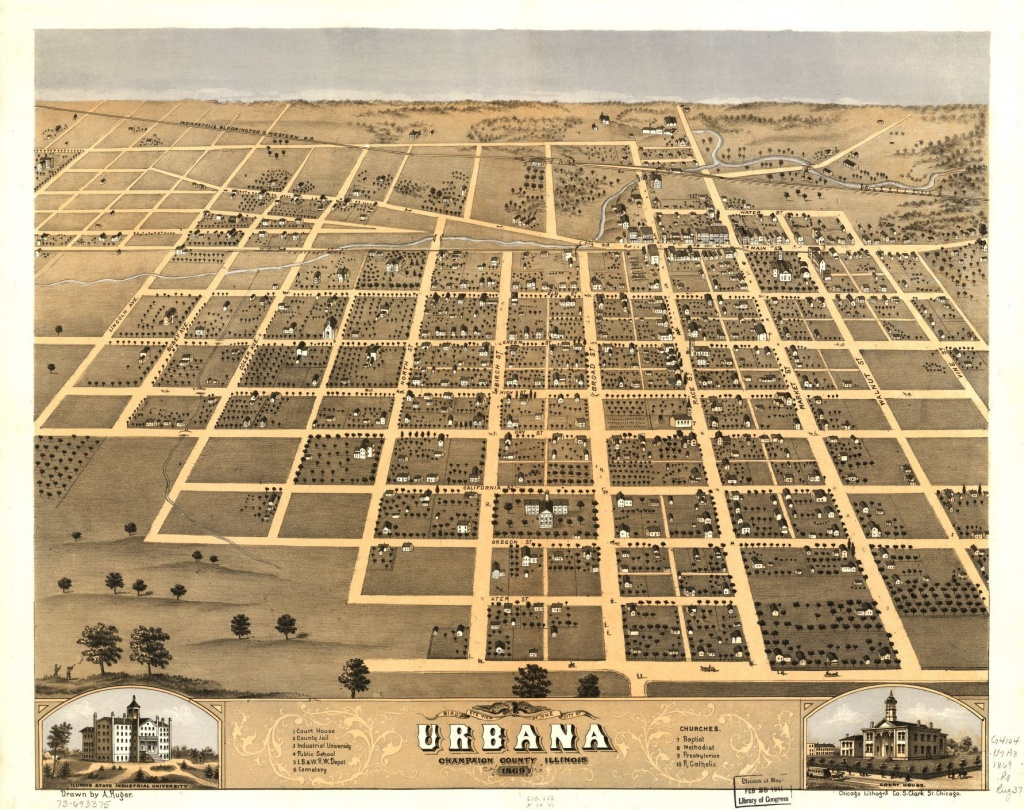 Bird's Eye View Of The City Of Urbana, Champaign County, Illinois - Printable Map Of Champaign Il