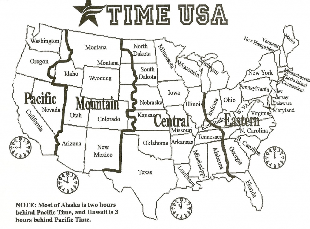 Black And White Us Time Zone Map - Google Search   Social Studies - Printable Time Zone Map