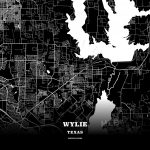 Black Map Poster Template Of Wylie, Texas, Usa | Hebstreits Sketches   Wylie Texas Map