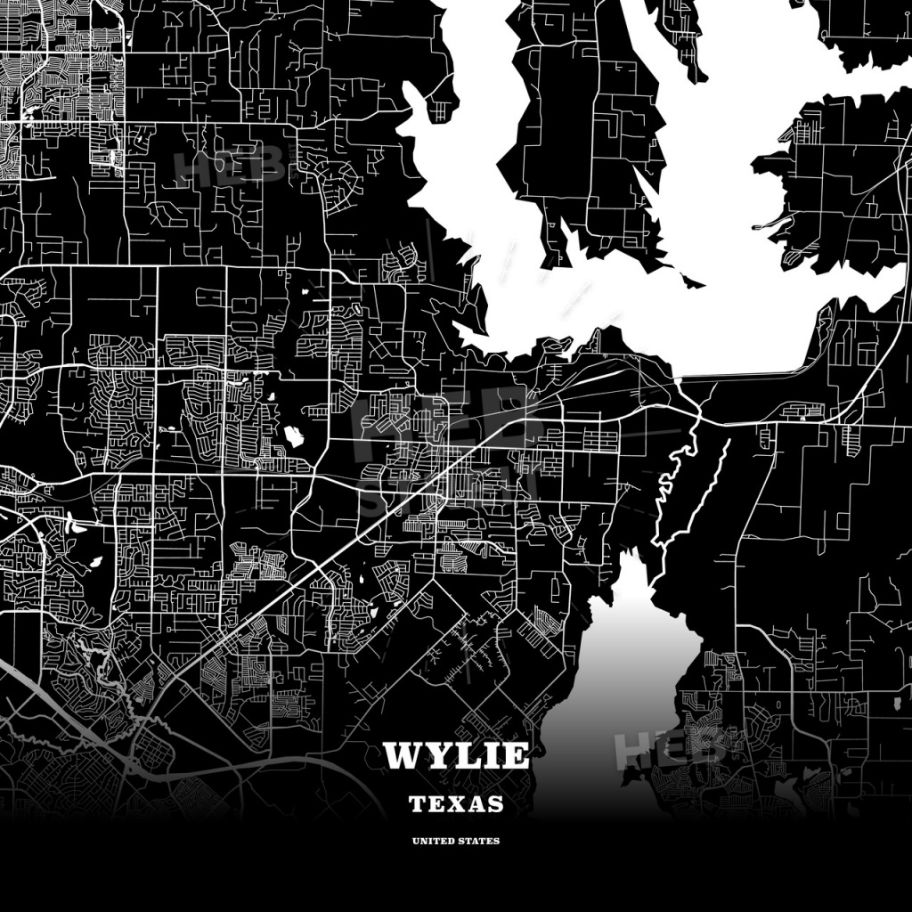 Black Map Poster Template Of Wylie, Texas, Usa | Hebstreits Sketches - Wylie Texas Map