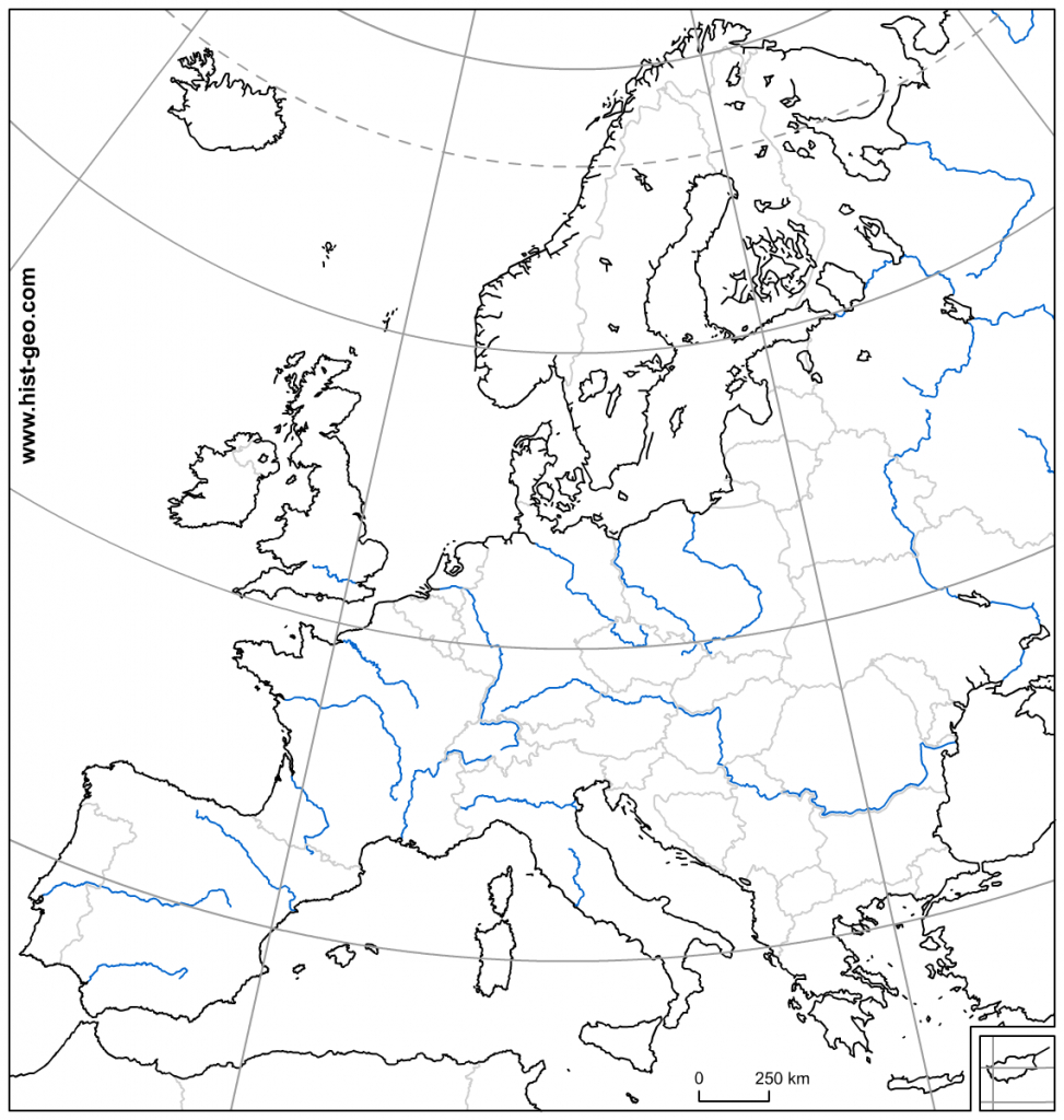Blank Map Of Europe With Countries, Rivers, Parallels And Meridians - Printable Blank Map Of European Countries